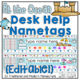 Editable At the Ocean Desk Help Name Tags/ Name Plates