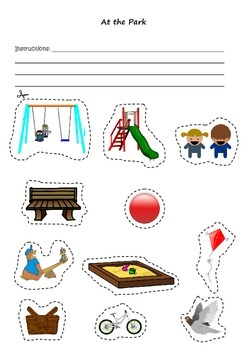 At the Park Vocabulary/Following Instructions/Barrier Game Learning Activity