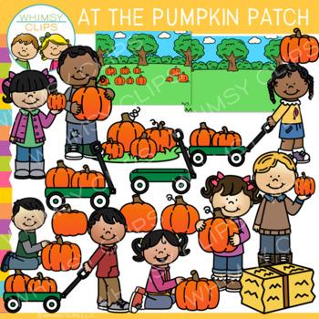 At the Pumpkin Patch Clip Art