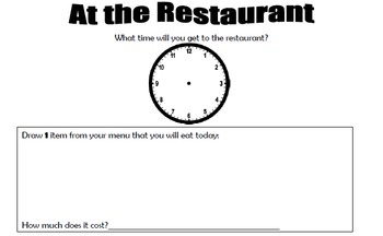 At the Restaurant - Math-Time (Clock) and Money (Coins) and English (Writing)