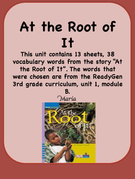 ReadyGen, At the Root of It Vocabulary, 3rd grade, Unit 1,