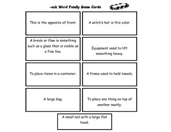 Word Family Table Games