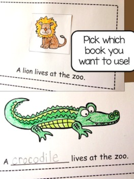 At the Zoo - Interactive Emergent Readers Duo