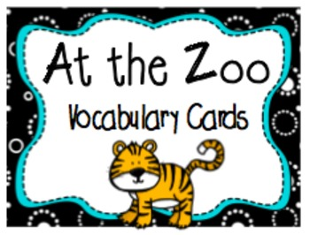 """At the Zoo"" Printable Vocabulary Cards: Color + Black & White"