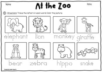At the Zoo- Vocabulary Pack