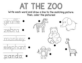 At the Zoo Worksheet