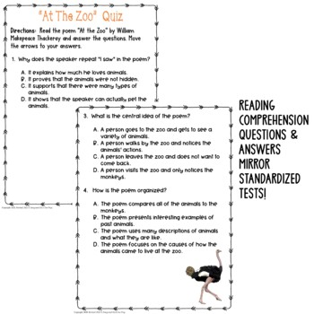 At the Zoo by Thackeray: Common Core Poetry Test Prep Lesson, Quiz, Activities