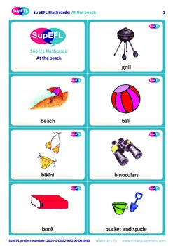 At the beach flashcards in English