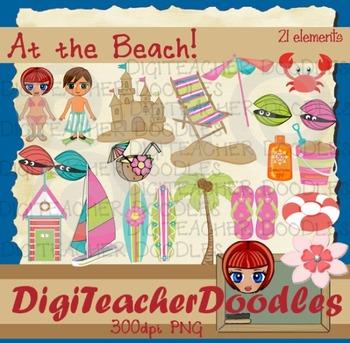 At the beach1  digital cliparts