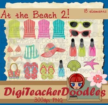 At the beach2 digital cliparts