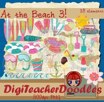 At the beach3 digital cliparts