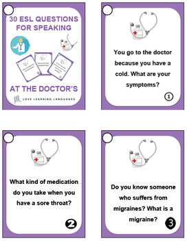 At the doctor's office - 30 ESL - ELL conversation starters and speaking prompts