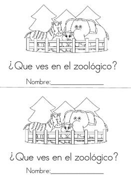 At the zoo mini book (What do you see?)  En el zoologico librito (Que ves?..)
