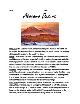 Atacama Desert - Lesson Information article driest place on earth - word search