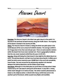 Atacama Desert - Lesson Information article driest place o