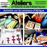 Atelier de math/ Early Numeracy / Thème Animaux d'Afrique / Kindergarten