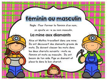 Atelier français: formation du féminin : La mine de diamants