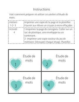 Ateliers Étude de mots Saint-Valentin/ French Valentine daily five word work