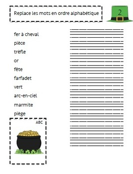 Ateliers Étude de mots Saint-Patrick/ French St-Patrick's day word work