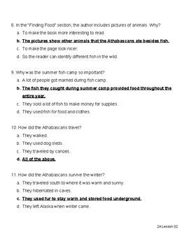 Athabascan Quiz - Ready Gen 3rd Grade Unit 2 Module A