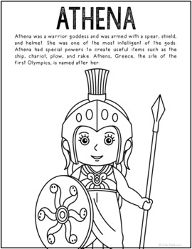 Athena, Greek Mythology Informational Text Coloring Page Craft or Poster