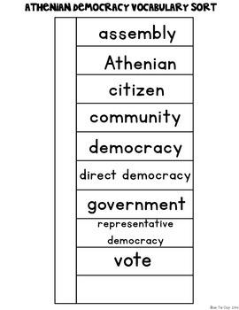 Athenian Representative & Direct Democracy {Interactive Vocabulary Sort}