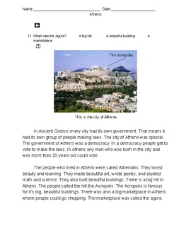 Athens- Comprehension Story
