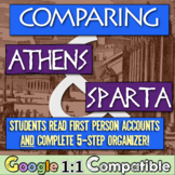 Compare Athens & Sparta! Students read first-person accounts of Athens & Sparta