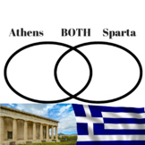 Athens vs Sparta Compare and Contrast Venn Diagram and Paragraph Assessment