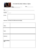 Athens vs. Sparta Debate Graphic Organizer Worksheets