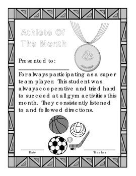 Athlete of the Month Award