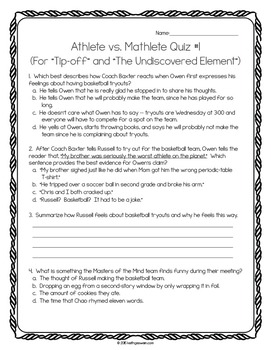 Athlete vs. Mathlete Power Pack:  21 Journal Prompts and 10 Quizzes