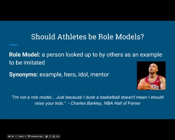 Athletes As Role Models - Lesson and Activities