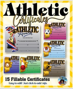 athletic awards certificate pack fillable by dp sharpe tpt