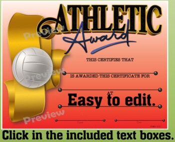 Athletic Awards Certificate Pack {Fillable}