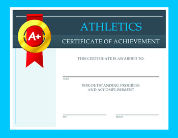 athletics certificate of achievement by global teacher s tools tpt