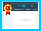Athletics Certificate of Achievement