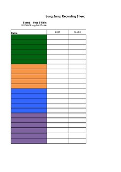 Athletics - Long Jump Record Sheet Template