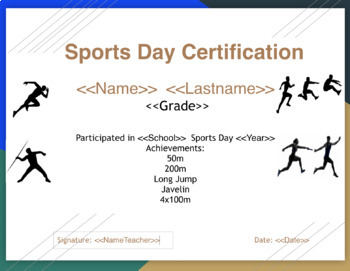 Athletics/Sports Day certificates- set up for autocrate to fill in Student names