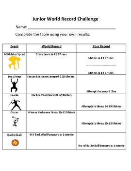 Junior PE: Track and Field intro lesson - World Record Challenge!
