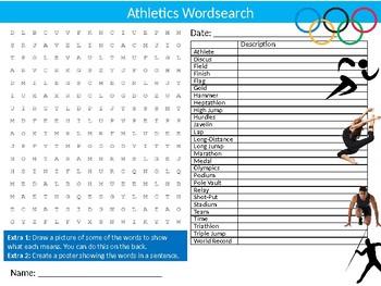 Athletics Wordsearch Sheet Starter Activity Keywords PE Sports Health
