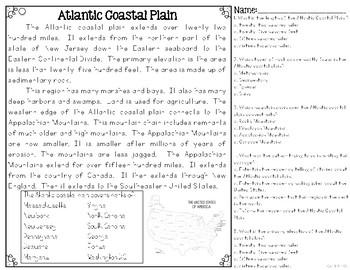 Atlantic Coastal Plain {Differentiated Close Reading Passages & Questions}