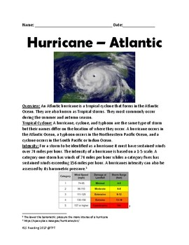 Atlantic Hurricane - Lesson facts information review article with questions