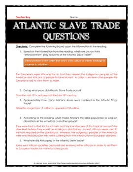 Atlantic Slave Trade - Reading with Questions, Map Activity, Benefits and Harms