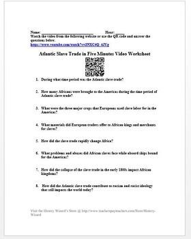 Atlantic Slave Trade in Five Minutes Video Worksheet