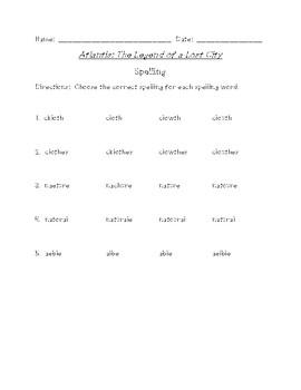 Atlantis: The Legend... Differentiated Spelling (Scott Foresman Reading Street)