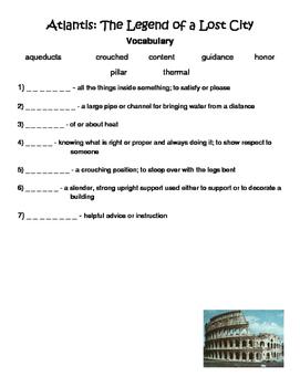 Atlantis: The Legend of a Lost City Reading Street Vocabulary
