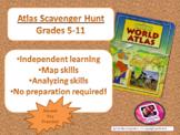 Atlas Scavenger Hunt / Map Skills  for Grades 5-11