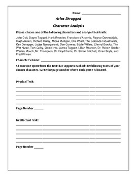 Atlas Shrugged Character Analysis Activity - Ayn Rand