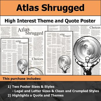 Atlas Shrugged - Visual Theme and Quote Poster for Bulletin Boards